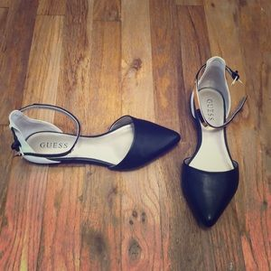 Guess black white and gold flats